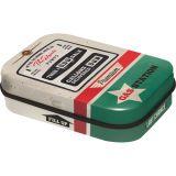 Rausverkauf! Pillendose aus Blech Gas Station mit zuckerfreien Pfefferminzpastillen